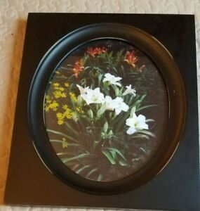 """Modern Black Wall Decor Picture Frame/floral picture; 12 1/2"""" x 10 3/4""""-oval pic"""
