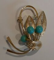 VINTAGE GOLD TONE MESH FLOWER TURQUOISE BALL  COSTUME BROOCH