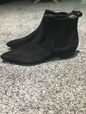 NEW Anthropologie H London Black Suede Boots Size 39
