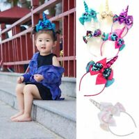 Bands Gifts Girls Headwear Sequins Bowknot Headwear Kids Headband Unicorn Horn