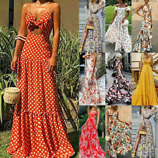 Women Sleeveless Boho Floral Maxi Dress Ladies Summer Beach Party Casual Dresses