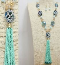 Silver Gold and Mint Beaded FASHION Necklace Set