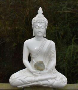 Large Shabby Chic Meditation Buddha With Natural Unique Moonstone Crystal