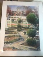 "Huge 1986 ""Stately Home And Landscape Scene"" Watercolor Painting #2 - Signed"