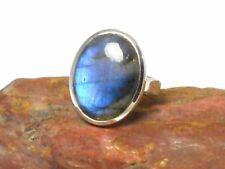 Labradorite  Sterling  Silver  925  Oval Gemstone  RING  -  Size  N