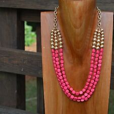 Statement Hot Pink & Gold Beaded Layered Necklace