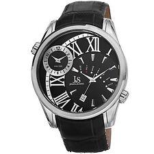 New Men's Joshua & Sons JS72SSB Quartz Dual Time Black Genuine Leather Watch
