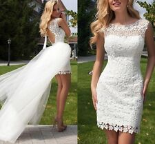 Lace White/ivory Short Beach Wedding Dress Bridal Gown Custom 6-8-10-12-14-16-18