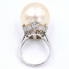 Substantial Vintage 17mm-18mm South Sea Pearl And Diamonds Ring Made In Platinum