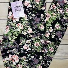 PLUS Size Floral Pink Roses Printed Leggings Buttery Soft Curvy 10-18 TC