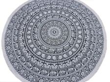 """Black Elephant Floral Round Tablecloth - Cotton Fringed Table Overlay Topper 70"""""""