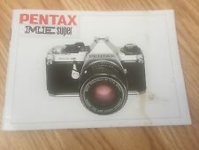 PENTAX ME SUPER InStRUCTIoN MANUAL GUIDE DIRECTIONS