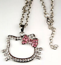 Hello Kitty Silver Pink Bow Crystal Necklace Fashion Jewelry