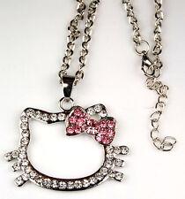 Hello Kitty Silver Pink Bow Swarovski Crystal Necklace Fashion Jewelry