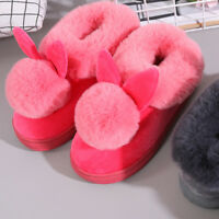 Women Winter Warm Soft Fur-lined Slippers Cotton Rabbit Ears Home Plush  5 *