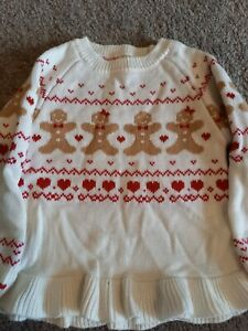 GIRLS GEORGE SIZE 2-3 YEARS WHITE GINGERBREAD MAN DETAIL CHRISTMAS JUMPER