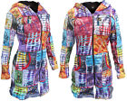 Femme Long Manteau Hiver Coton Tie And Dye Doublure Polaire Patchwork Broderie