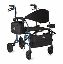 Medline Translator - Combination Transport Chair and Rollator, Blue- MDS808200TR