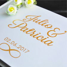 Personalized Wedding Guest Book Gold Calligraphy Customized Guestbook Name Date
