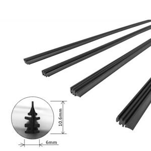 1x New 6mm 26'' Car Auto Rubber Metal Wiper Blade Refill Black Windshield Wiper