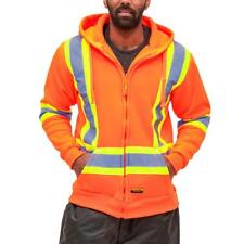 """DuraDrive High Visibility Hoodie Sweater Jacket with 4"""" Striping CSA Z96"""