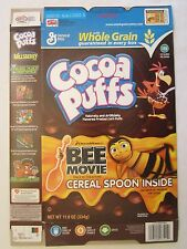 Empty GENERAL MILLS Cereal Box 2007 Cocoa Puffs BEE MOVIE 11.8 oz