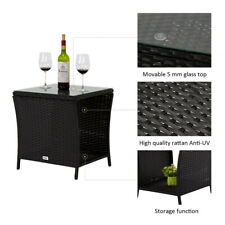 Outdoor Square Wicker Rattan Side Tea Table Patio Furniture w/Glass Top Black