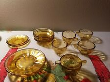 Depression Glass Vintage 30's  Akro Agate Child's Tea Set Interior Panel Amber