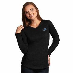 NEW Detroit Lions Women's v-Neck Long Sleeve T-Shirt Antigua Large Charcoal Gray