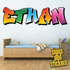Childrens Name Wall Stickers Personalised Graffiti for Boys Girls Bedroom Art ..
