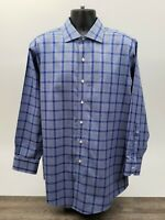 Brooks Brothers 1818 Regent Men's Shirt Size 17 / 33 Supima Blue Plaid Check