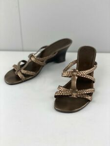 Sandler Womens Charade Bronze Leather Strappy Wedge Sandals Slip On Size 5 H