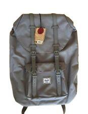 Herschel Little America Rare ALL Grey Canvas & Leather School Backpack Bag Case