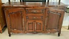 """Antique French Provincial Oak Sideboard Buffet 79"""" x 43"""" Chest Credenza"""