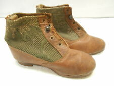 Antique Small Victorian Children's Shoes Boots Doll Vintage Clothing Leather