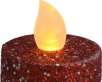Set Of 12 Red Glitter Led Tea Light Candles Batteries Included