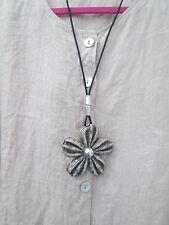 Lagenlook Long Large  flower Necklace antique silver colour