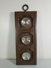 VTG Springfield Weather Station Thermometer Barometer Humidity Meter Fake Wood