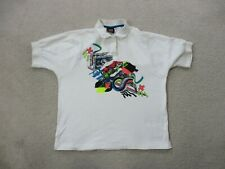 Vintage Prince Polo Shirt Adult Medium White Pink Tennis Cotton Casual Mens 90s*