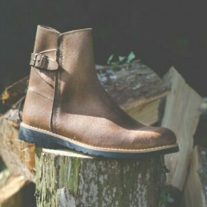 Leather Boots with Recycled Tyre Soles Portugal Traditional Vintage Buckle