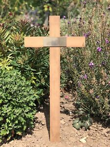 """Wooden Memorial Cross Grave Marker 24"""" Free Plaque & Free Engraving in memory of"""