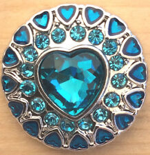 +,Snap Chunk Silver/Blue Hearts And Sets Charm Fits Snap Bracelets & Necklaces