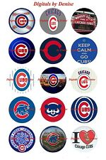 """CHICAGO CUBS BOTTLE CAP IMAGES 15 1"""" CIRCLES  *****FREE SHIPPING*****"""
