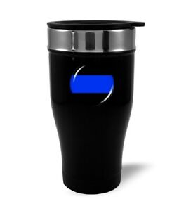 Thin Blue Line Stainless Steel BLACK Coffee Travel Mug Thermos 12oz