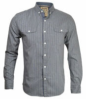 New Soul Star Mens Slim Fit Stripe Long Sleeve Shirt Blue Pink Grey Top S M L XL