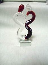 Kleine Abstrakte Glas Skulptur auf Sockel 13,9 cm Braun-Klar Liebespaar Neu 8537