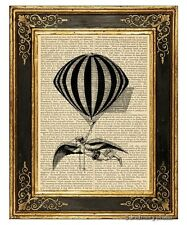 Dreaming of Flying Art Print on Antique Book Page Vintage Illustration Balloon