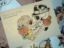 50's Bride & Groom Sugar Skull Tattoo Save the Date Cards