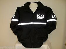 Reflective K-9 Jacket with Reflective Striping, All Weather Jacket, Size Med
