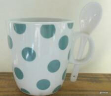 """New  Green Dots on White  Mug with Ceramic Spoon 3.5"""""""